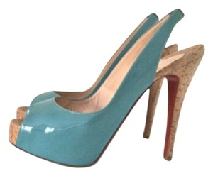 Christian Louboutin So Private Peep Toe Blue Pumps