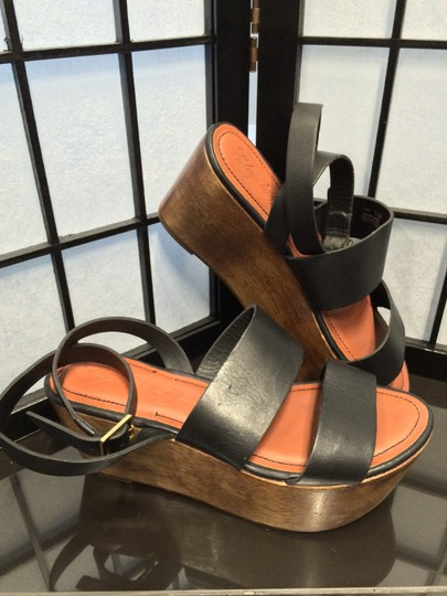 Elizabeth and James Leather Clog Platform Black and Wood Wedges