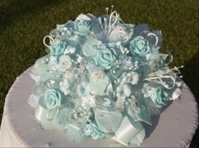 Unique Vintage Light Aqua Bouquet with Hand Made Bisque Flowers Unique Vintage Light Aqua Bouquet with Hand Made Bisque Flowers Image 1