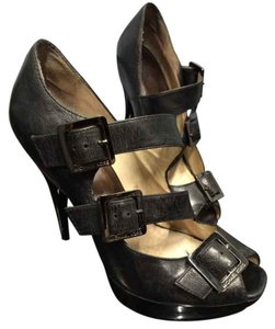 Michael Kors Leather Gunmetal Asymmetrical Stilletto Platform Heels Black Pumps