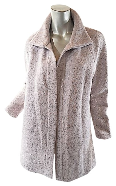 Preload https://img-static.tradesy.com/item/4879495/beige-grey-pale-wool-boucle-jacket-wsilver-sequins-trench-coat-size-4-s-0-0-650-650.jpg