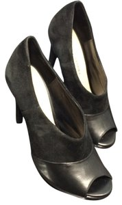 Audrey Brooke Peeptoe Suede Leather Black Pumps