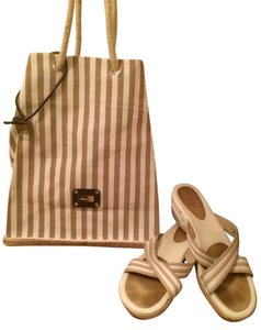 Saldarini Cotton Espadrille Tote in cream/tan