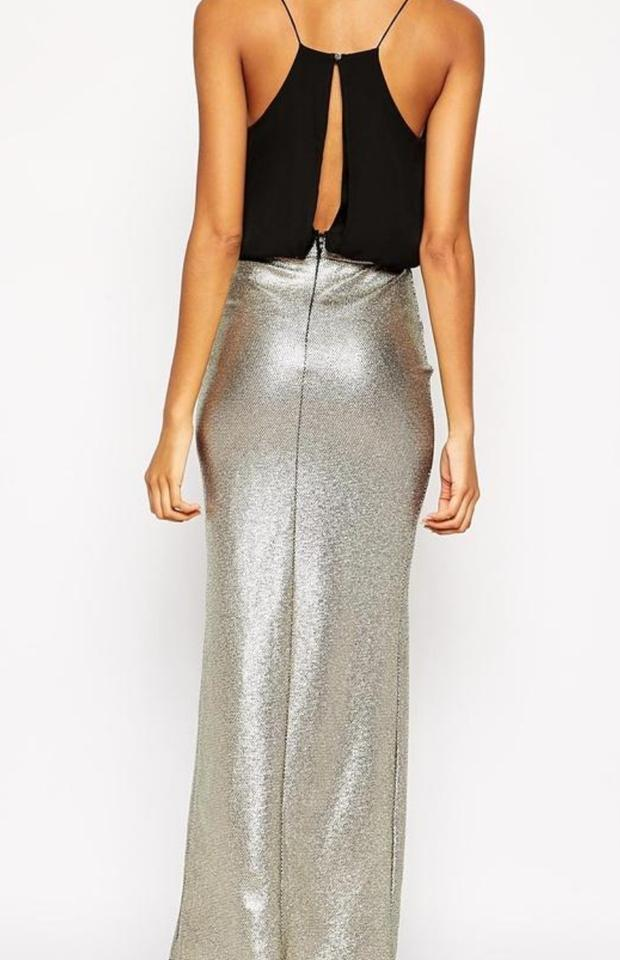 TFNC Black Metallic Gold Maxi Split Long Night Out Dress Size 8 (M ...