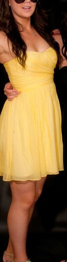 J.Crew Yellow Chiffon Arabelle Feminine Bridesmaid/Mob Dress Size 4 (S)