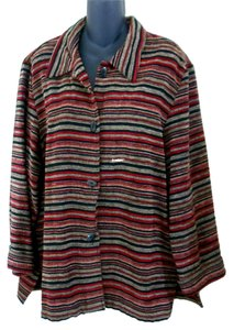Sag Harbor Chenille Vintage Button Down Shirt Striped