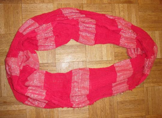 BP. Clothing Hot Pink Silver Sparkly Striped Mesh Woven Infinity Scarf Image 1