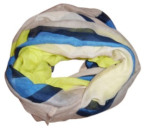 Square Yellow Blue Beige Wide Thin Infinity Scarf