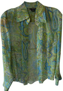 Victoria's Secret Sheer Greens Blues Silk Career Long Sleeves Button Down Shirt Paisely