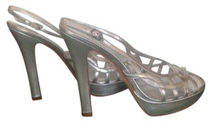 Nina Strappy Peep Toe Slingback Club Evening Silver Metallic Platforms