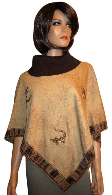Item - Beige Brown Marie Gray Santana Knit Alligator Sweater Poncho/Cape Size OS (one size)