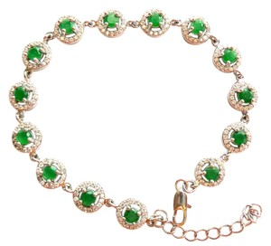 Vintage Style Natural Columbian Green Emerald and White Zircon Sterling Silver 14k Tennis Bracelet