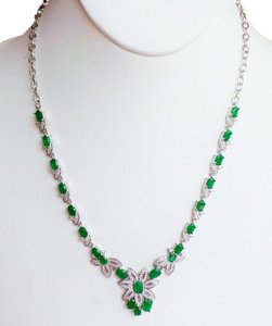 Elegant Natural Columbian Emerald and White Zircon Sterling Silver 14K Gold Necklace