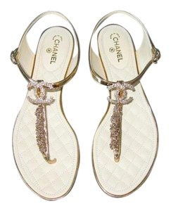 Chanel Thongs Crystal Gold Sandals