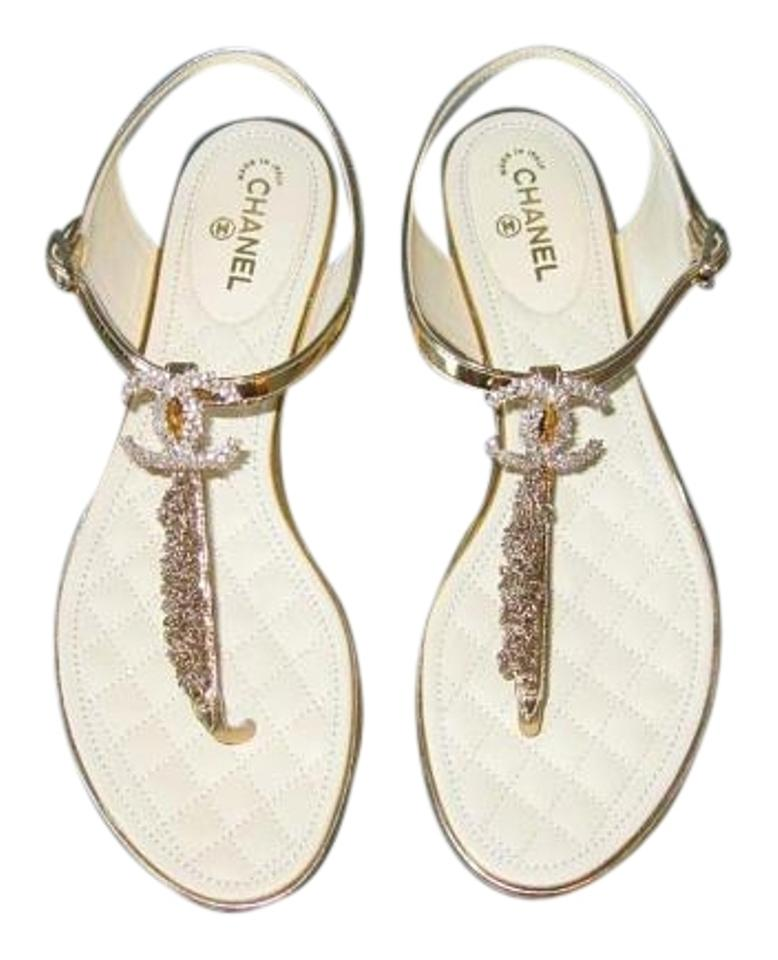 de5d307d3ce Chanel Gold Chain Cc Thong Sandals Size US 8 Wide (C