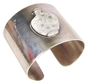 Lalique Lalique Sterling Silver Bottle Vase Frosted Crystal Inlay Cuff Bangle Bracelet