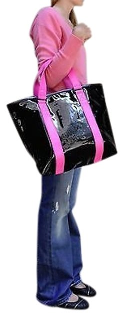Item - Shiny Bag Handbag Purse Tote Black Pink