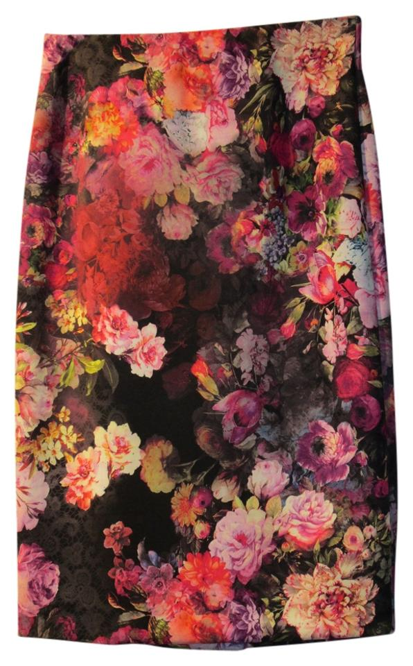 002641f0c2 ECI New York Pinks/Orange/Raspberry/Multi Floral Pencil Skirt. Size: 6 ...