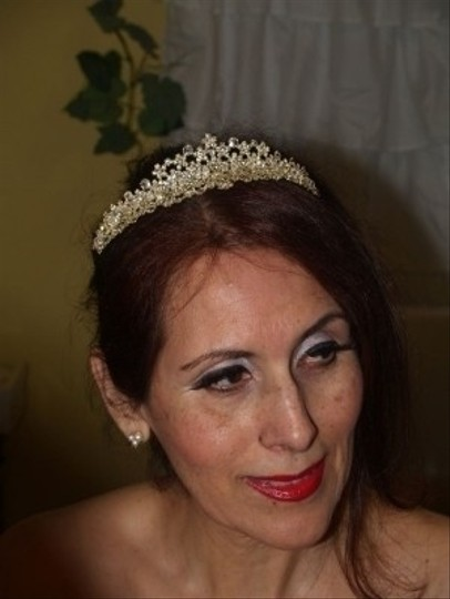 Silver/Yellow Gold Crystals Gold/Silver Tiara #7740