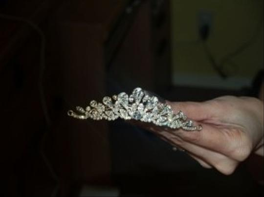 Silver/Yellow Gold Crystals Comb #9173 Tiara