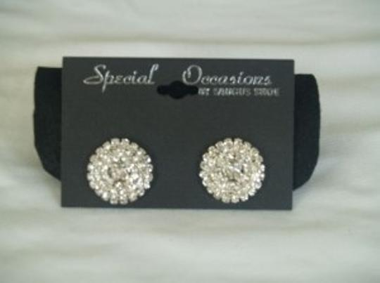 Silver/Silver Crystals Shoe Clips By Saugus Shoes Sc-01 Brooch/Pin