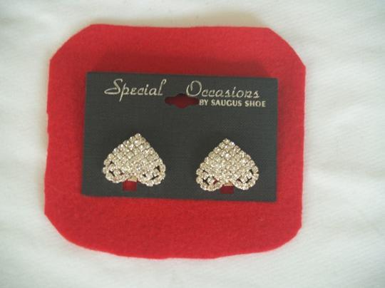 Silver Heart Shaped Shoe Clips Crystals By Saugus Shoes