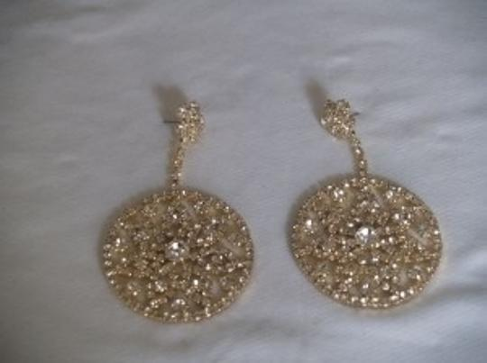 Gold/Unknown Crystals Rhinestones Round Tone Earrings