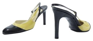 Chanel Mary Jane Two-tone Slingback tan/yellow-tone and black Pumps