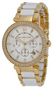 Michael Kors Michael Kors Gold and White Acetate Crystal Pave Ladies Designer Watch