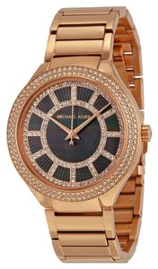 Michael Kors Michael Kors Rose Gold Crystal pave Black Mother of Pearl Dial Ladies Designer Watch
