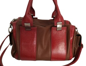 Walter Baker Style Satchel in Walter Baker Cognac/Red Leather Reporter