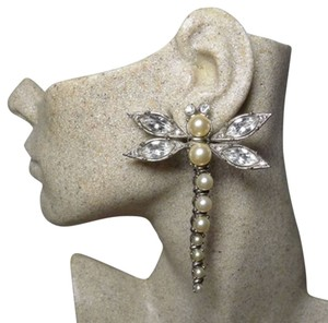 Dior Authentic Christian Dior Ultra Rare Dragonfly Glass Pearl Crystal Earrings