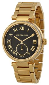 Michael Kors Michael Kors Black Dial Crystal Pave Gold Tone Ladies Designer Watch
