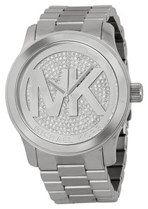 Michael Kors Michael Kors Silver Crystal Pave Logo Ladies Designer Watch
