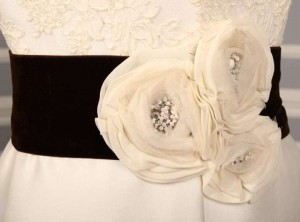Anne Barge Grayson Chocolate Embellished Bridal Sash