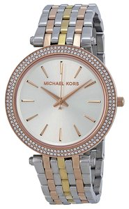 Michael Kors Michael Kors Crystal Pave Tri Tone Gold Rose Gold Silver Ladies Designer Watch