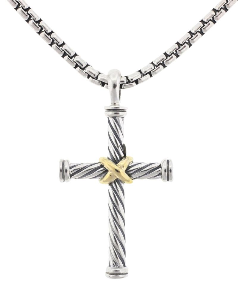 David yurman silver stainless steel 18k yellow gold cross pendant david yurman david yurman stainless steel 18k yellow gold cross pendant chain necklace mozeypictures Images