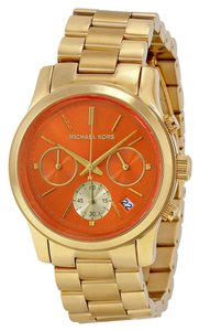 Michael Kors Michael Kors Orange Dial Gold Tone Ladies Designer Watch