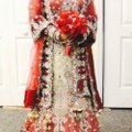 Red and White with Heavy Crystal and Beading. Bridal Lengha Traditional Wedding Dress Size 4 (S) Image 0