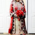 Red and White with Heavy Crystal and Beading. Bridal Lengha Traditional Wedding Dress Size 4 (S) Image 1