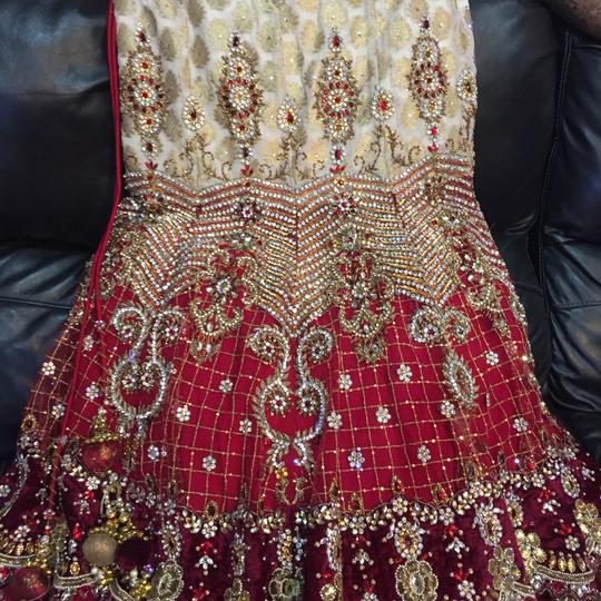 Red and White with Heavy Crystal and Beading. Bridal Lengha Traditional Wedding Dress Size 4 (S) Image 3