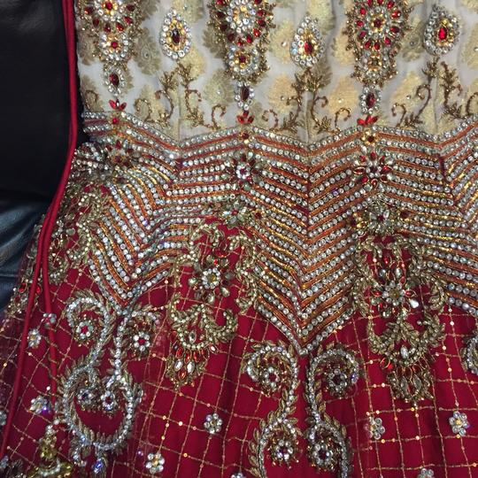 Red and White with Heavy Crystal and Beading. Bridal Lengha Traditional Wedding Dress Size 4 (S) Image 4