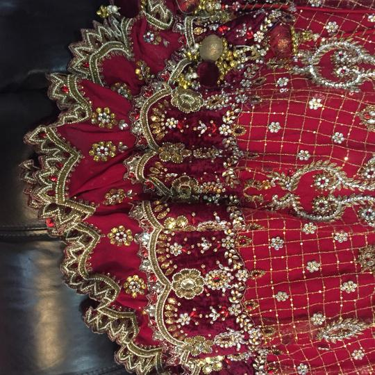 Red and White with Heavy Crystal and Beading. Bridal Lengha Traditional Wedding Dress Size 4 (S) Image 5