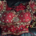 Red and White with Heavy Crystal and Beading. Bridal Lengha Traditional Wedding Dress Size 4 (S) Image 7