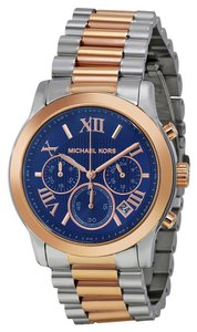 Michael Kors Michael Kors Blue Dial Rose Gold Silver Boyfriend Ladies Designer Watch