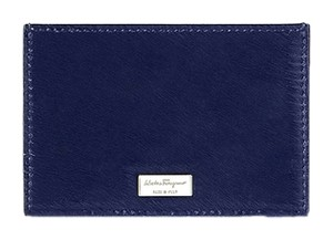 Salvatore Ferragamo Salvatore Ferragamo Credit Card Holder Wallet Royal Blue Pony Hair 669863