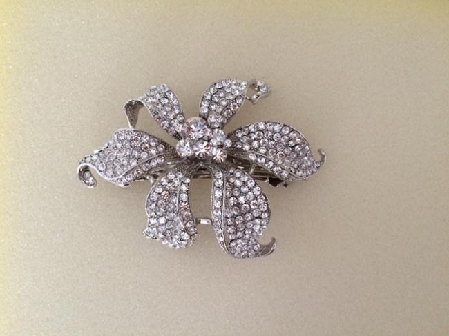 Item - Silver with Crystals Clip Hair Accessory