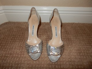 Manolo Blahnik Silver Sedaraby D'orsay Formal Size US 9.5 Regular (M, B)