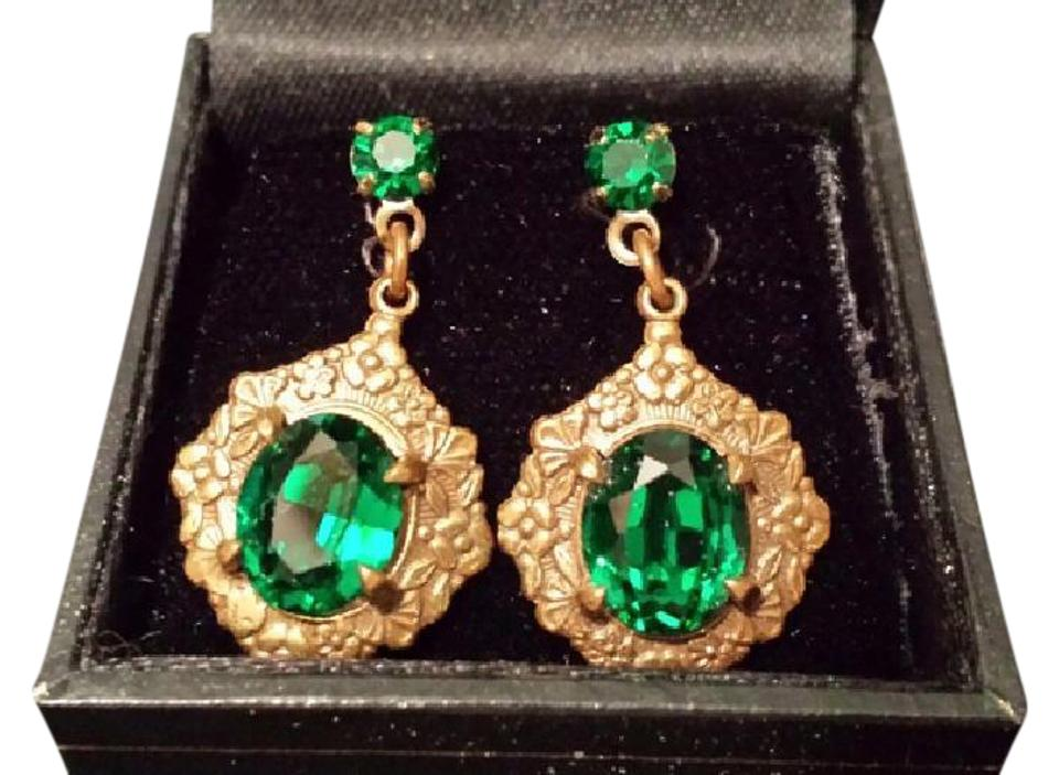1928 Vintage Faux Emerald Pierced Earrings Gorgeous