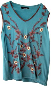 Jones New York Beaded Knit Top Dark Turquoise